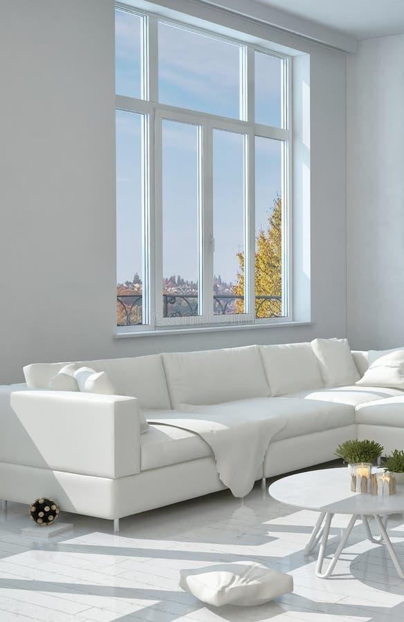 Sofa Near branco elegante a janela de vidro ilustração do vetor