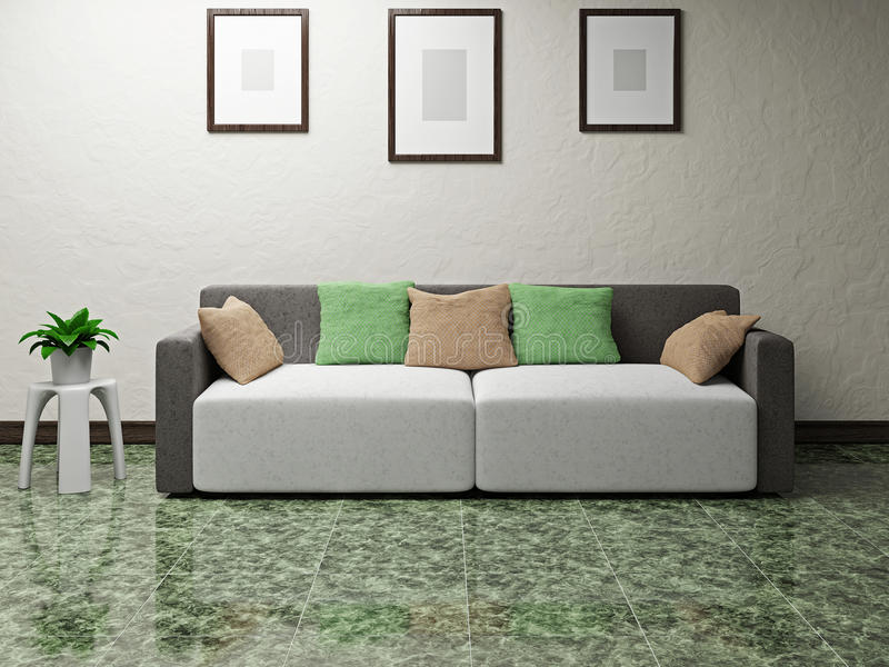 Download Sofa near the wall stock illustration. Image of detail - 32055391