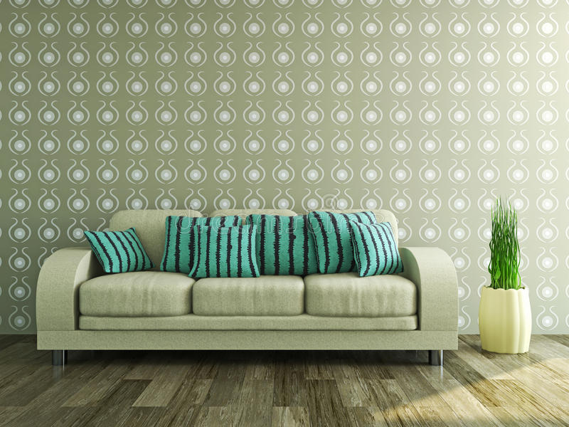 Sofa Near The Wall Stock Illustration