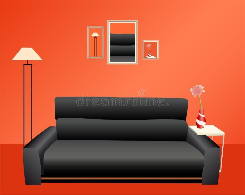 Sofa noir sur le mur rouge illustration libre de droits
