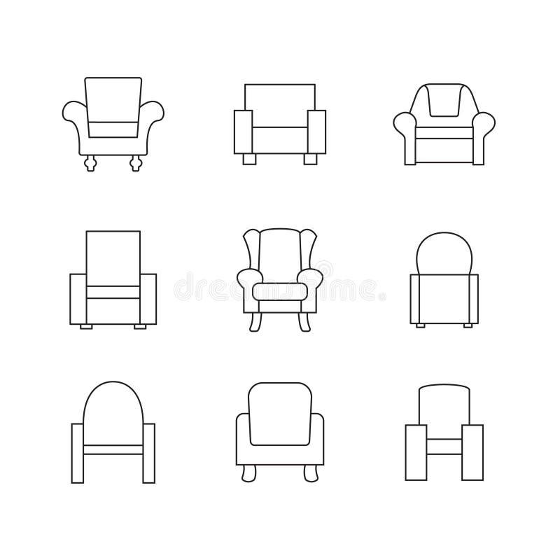 Sofa Outline Set royalty-vrije illustratie