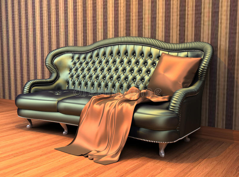 Sofa with pillow and coverlet in interior vector illustration
