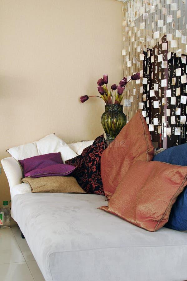 Sofa and pillows. A comfortable sofa and pillows royalty free stock photo
