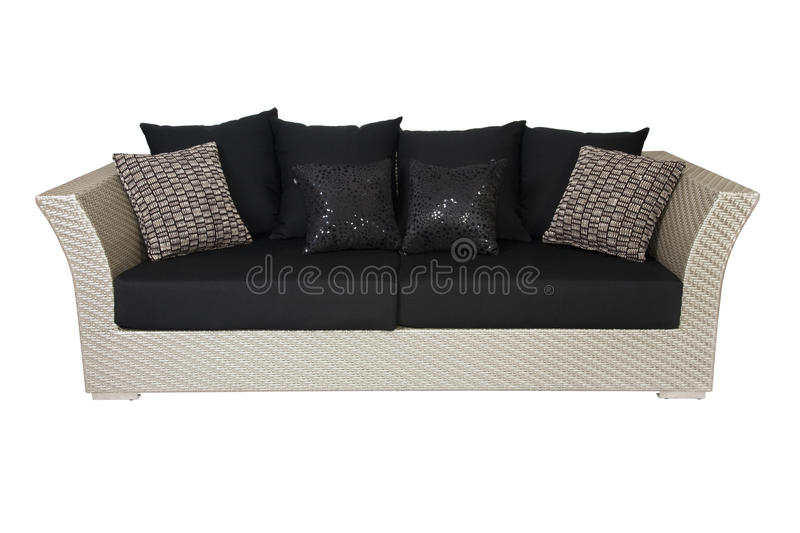 Sofa with pillows isolated on white stock photo
