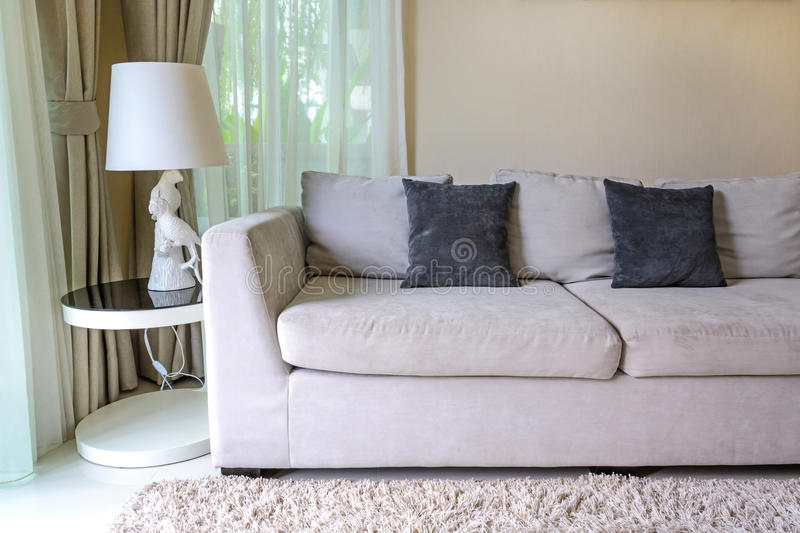 Sofa and pillows stock images