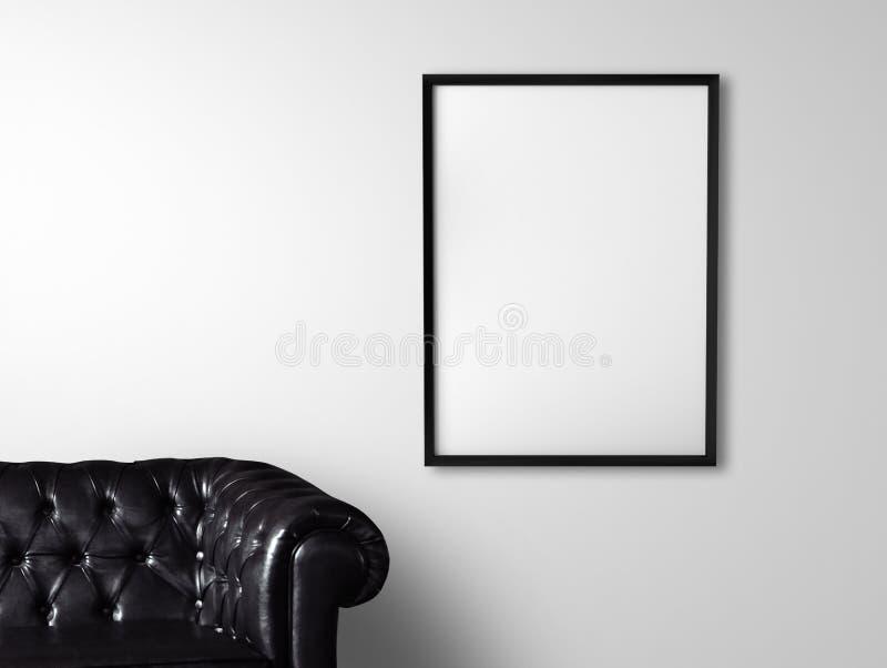 Sofa and poster stock photos
