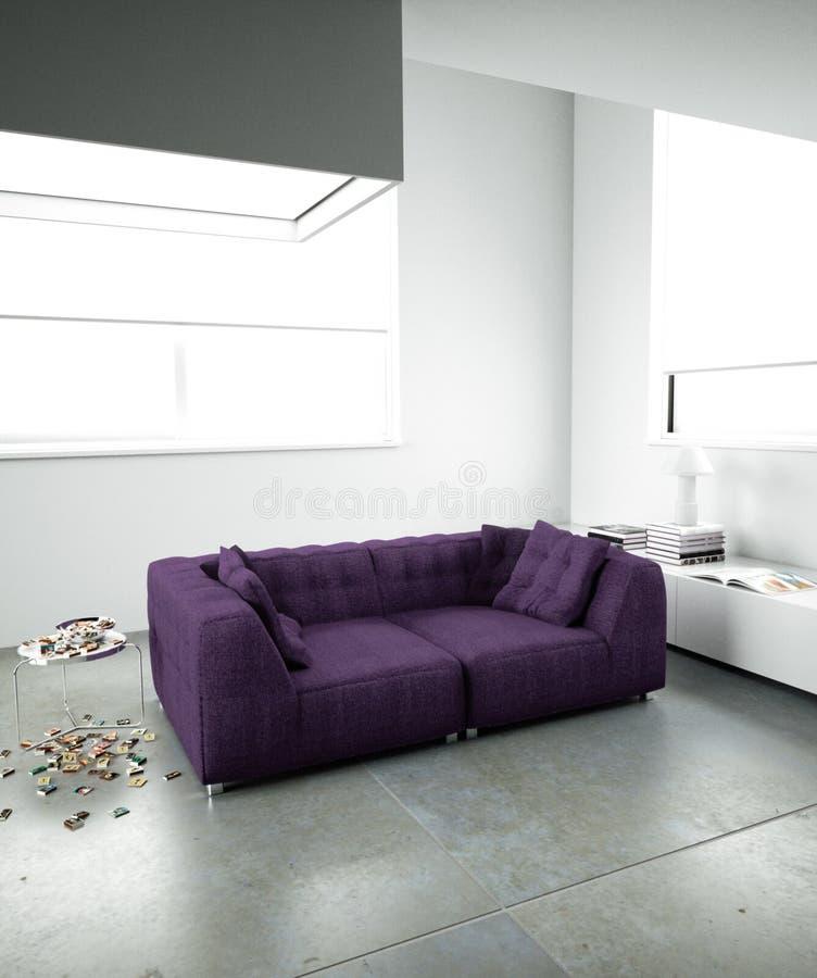 Sofa pourpré dans l'intérieur minimaliste photos libres de droits