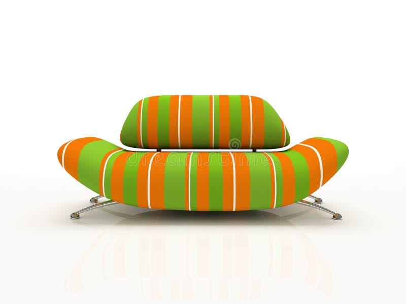 Sofa rayé sur le fond blanc isolé illustration stock