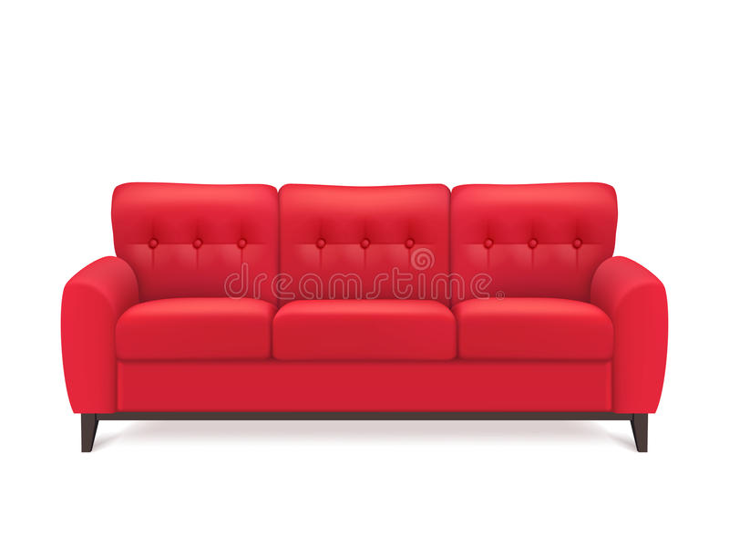 Sofa Realistic Illustration de cuero rojo libre illustration