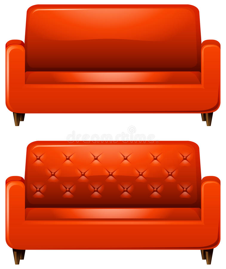 Sofa with red leather. Illustration stock illustration