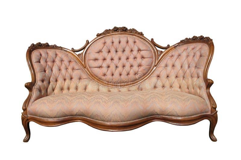 Sofa rose de luxe antique de tissu d'isolement. images libres de droits