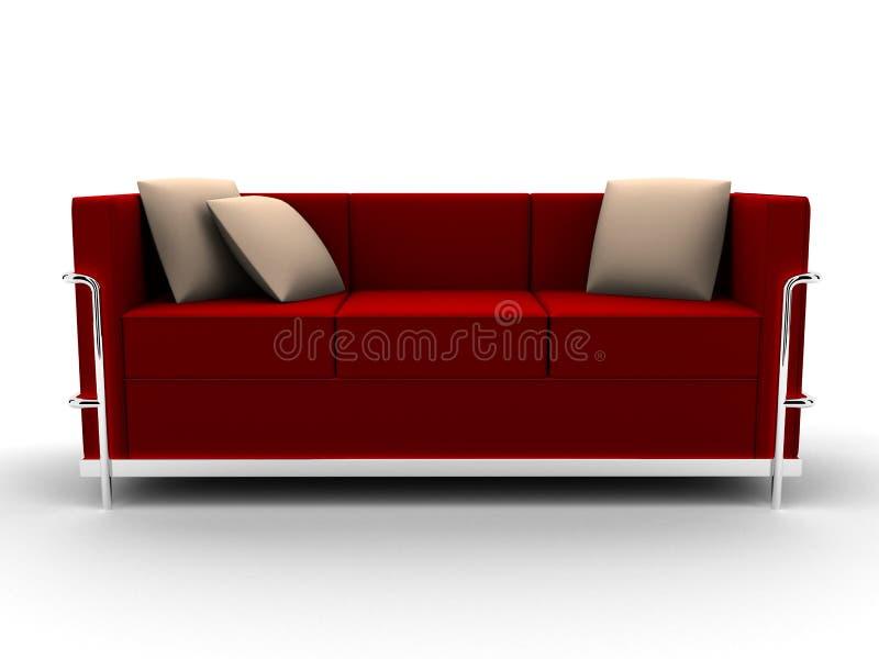 Sofa rouge illustration stock