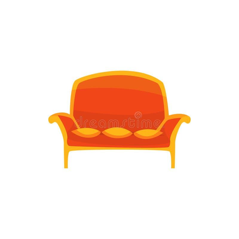 Sofa rouge de vintage avec l'intérieur d'oreillers, de salon ou de bureau, meubles pour l'illustration de vecteur de bande dessin illustration de vecteur