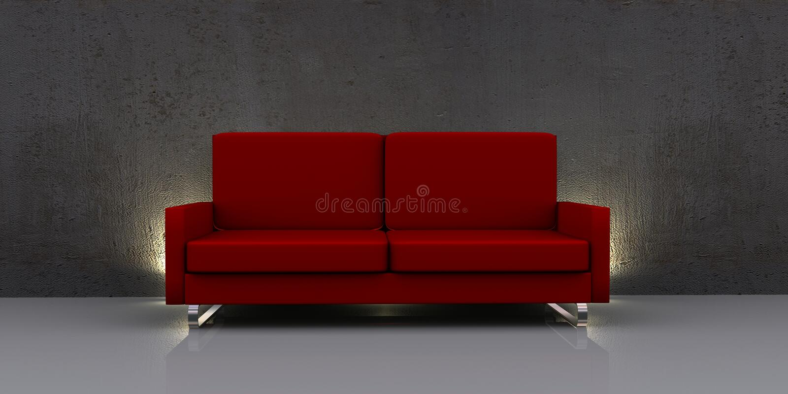 Sofa rouge moderne illustration de vecteur