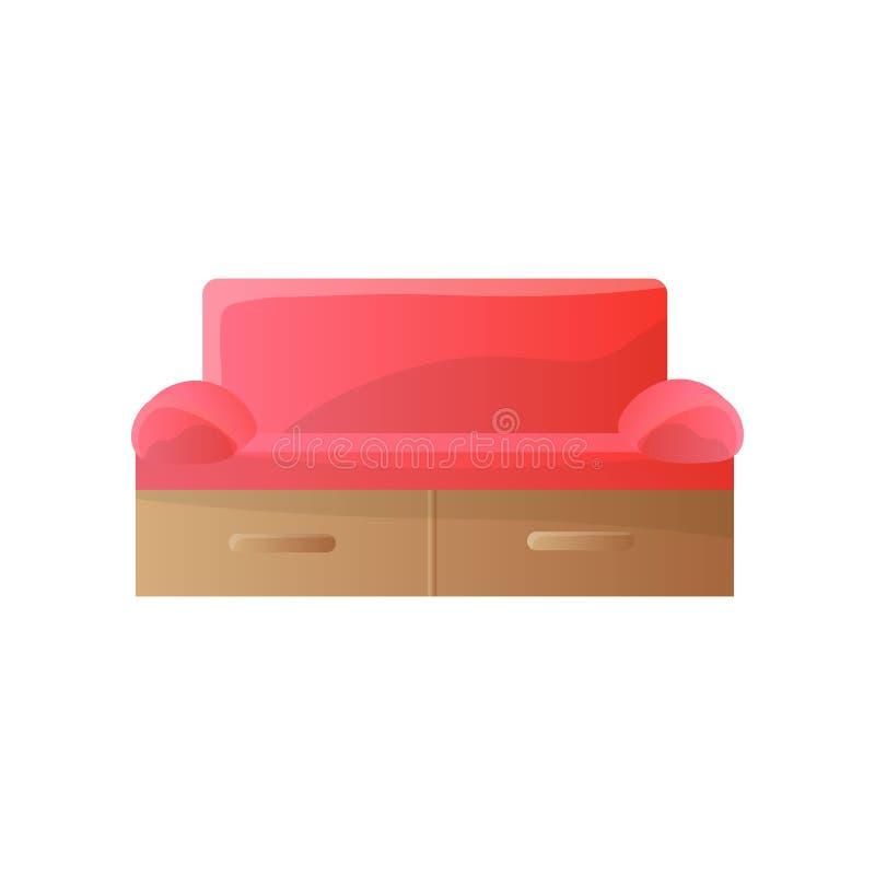 Sofa rouge moderne avec les bras arrondis serrés et le calibre rectangulaire de dos de forme image libre de droits