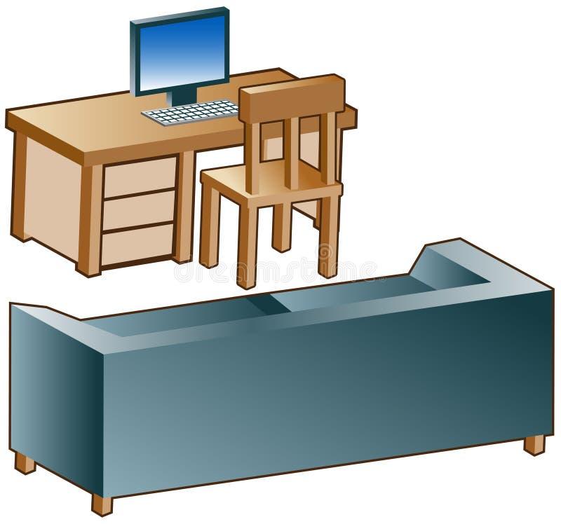 Sofa-Schreibtisch-Ikonen lizenzfreie abbildung