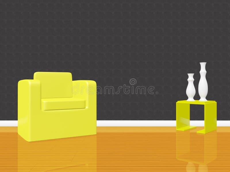 Sofa simple de chaise de bras dans la chambre vide illustration de vecteur