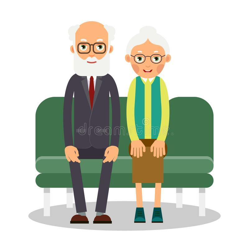 On the sofa sit elderly man and woman. Family portrait of elderly people. Married couple of pensioners at home on couch. Illustration in flat style. Isolated stock illustration