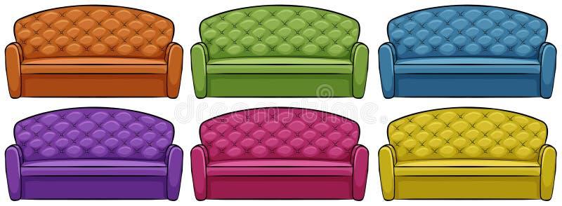 Sofa in six different colors. Illustration stock illustration