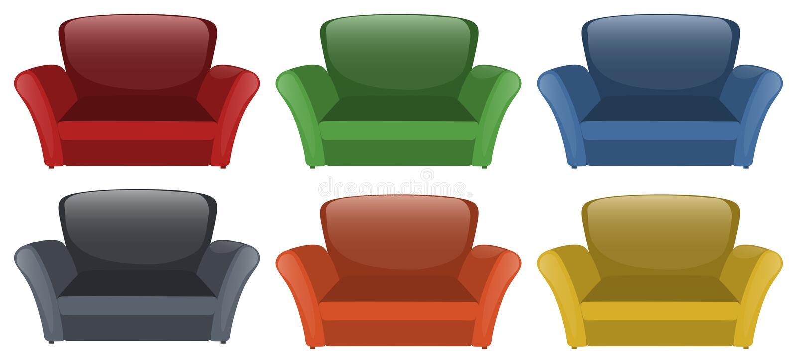 Sofa in six different colors. Illustration vector illustration