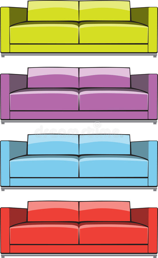 Sofa in some color variations stock image