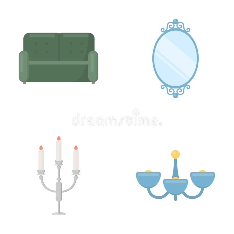 Sofa, Spiegel, Kerzenständer, Leuchter Vector gesetzte Sammlungsikonen FurnitureFurniture in der Karikaturart Symbolvorrat stock abbildung
