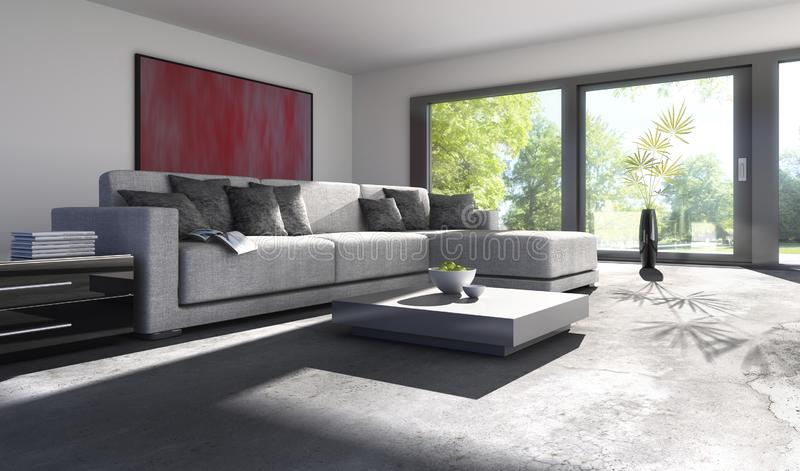 Sofa in a sunny living room royalty free illustration