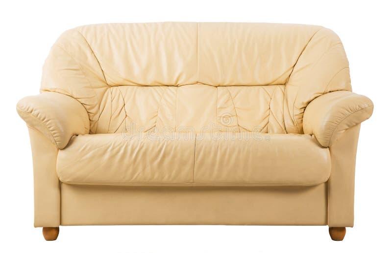 Sofa sur le blanc, vue de face de divan en cuir images libres de droits