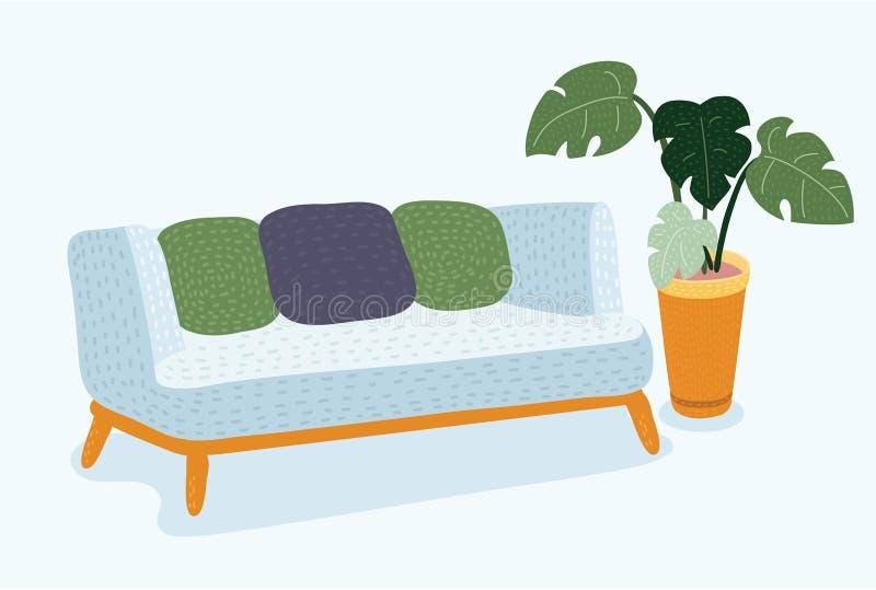 Sofa sur un cadre en bois pour le salon moderne illustration de vecteur