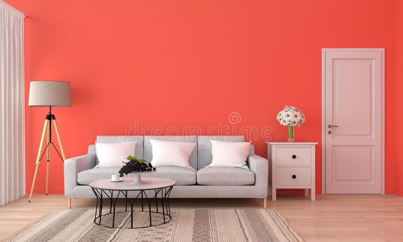 Sofa and table in orange living room, 3D rendering stock illustration
