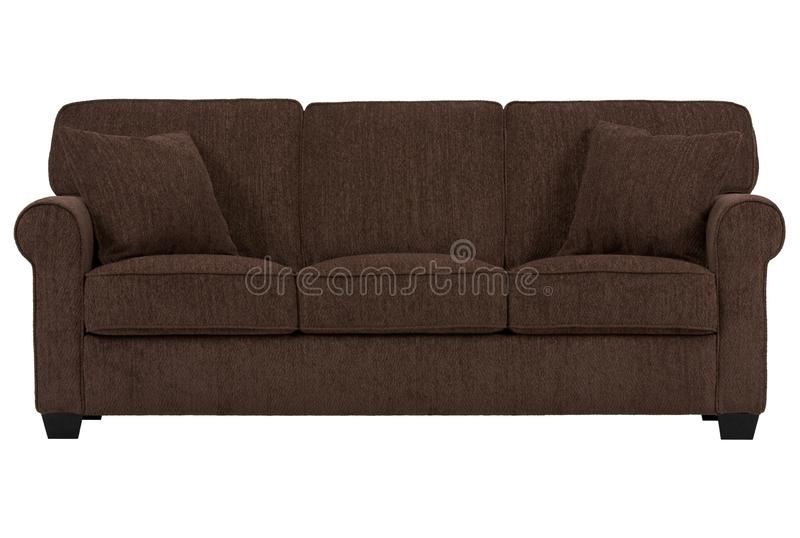 Three seat sofa in brown colour royalty free stock photography