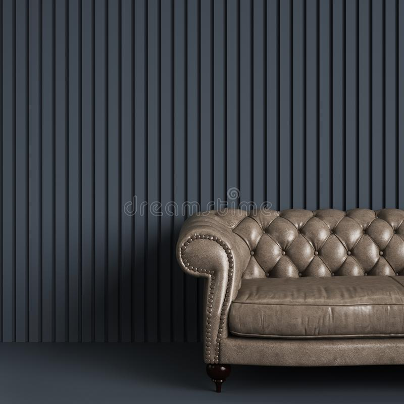 Sofa tufté classique dans la pièce vide grise avec le mur de rayure de soulagement photos libres de droits