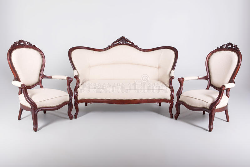 Sofa and two armchair royalty free stock photos