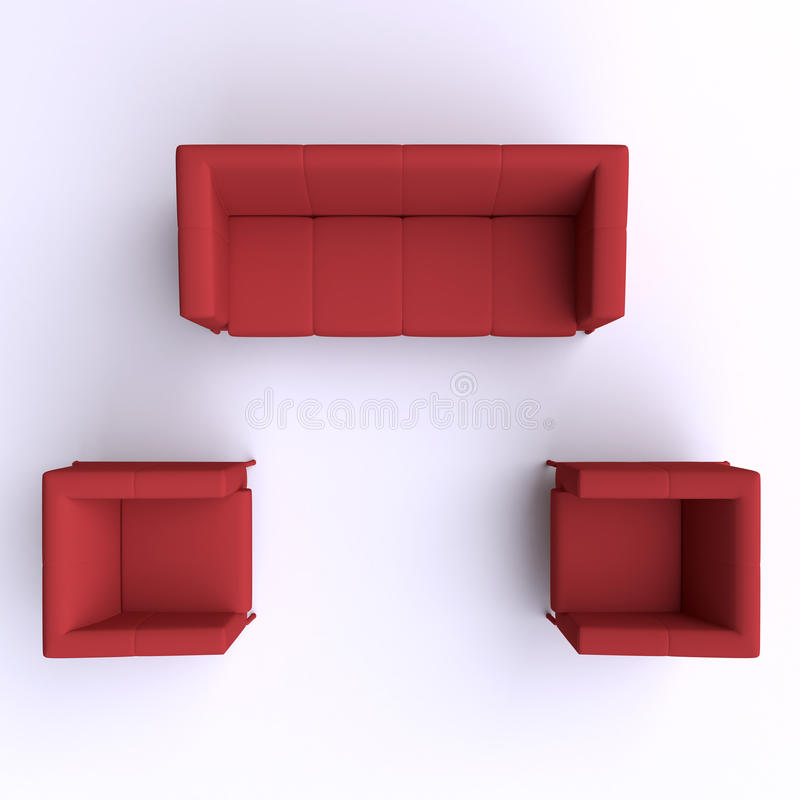 Sofa And Two Chairs. Top View. Stock Illustration ...