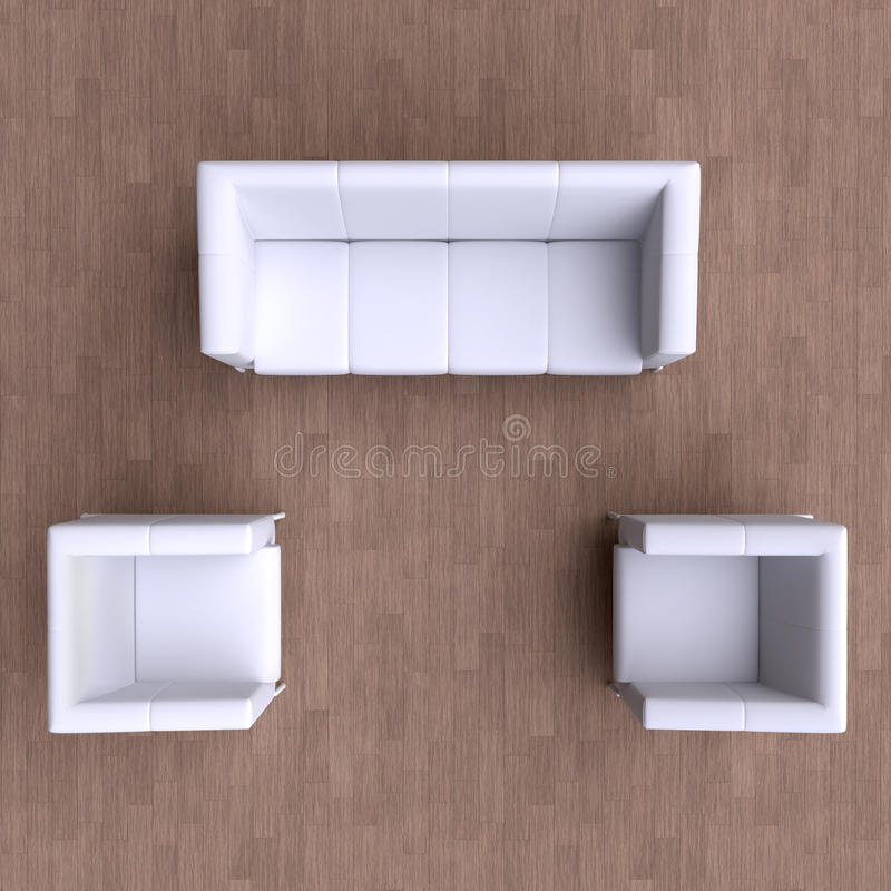 Sofa And Two Chairs Top View Stock Illustration