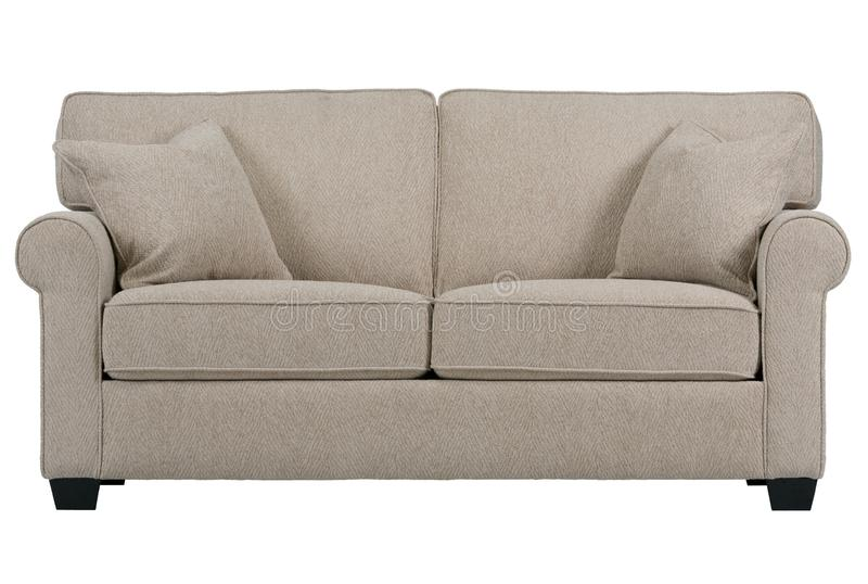 Sofa in cream colour with two seat stock images