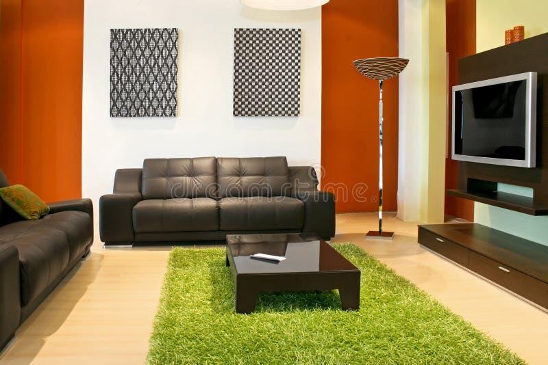 Sofa und Fernsehapparat lizenzfreie stockfotos