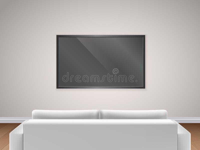 Sofa- und Fernsehrückseitenansicht stock abbildung