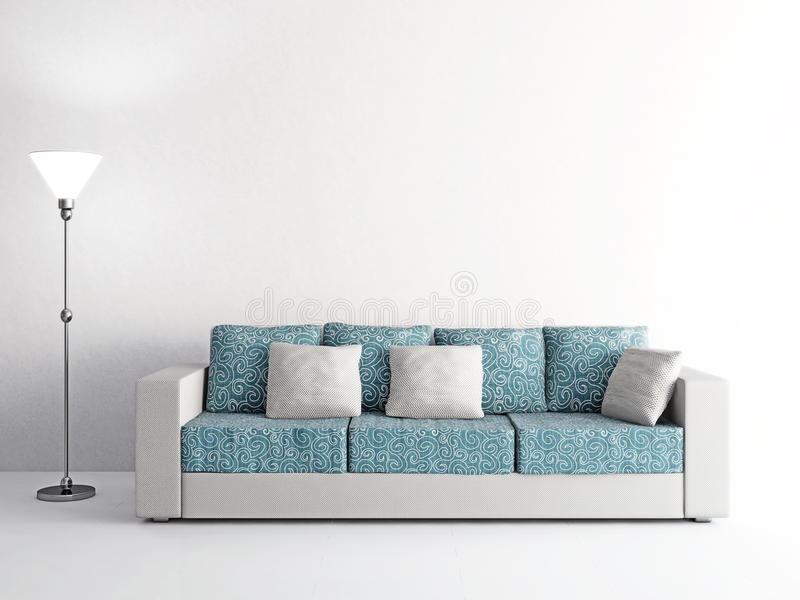 sofa und lampe nahe der wand stock abbildung bild 54018348. Black Bedroom Furniture Sets. Home Design Ideas