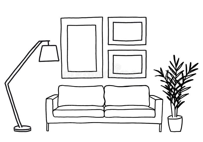 Sofa und leere Bilderrahmen, Vektorspott oben stock abbildung