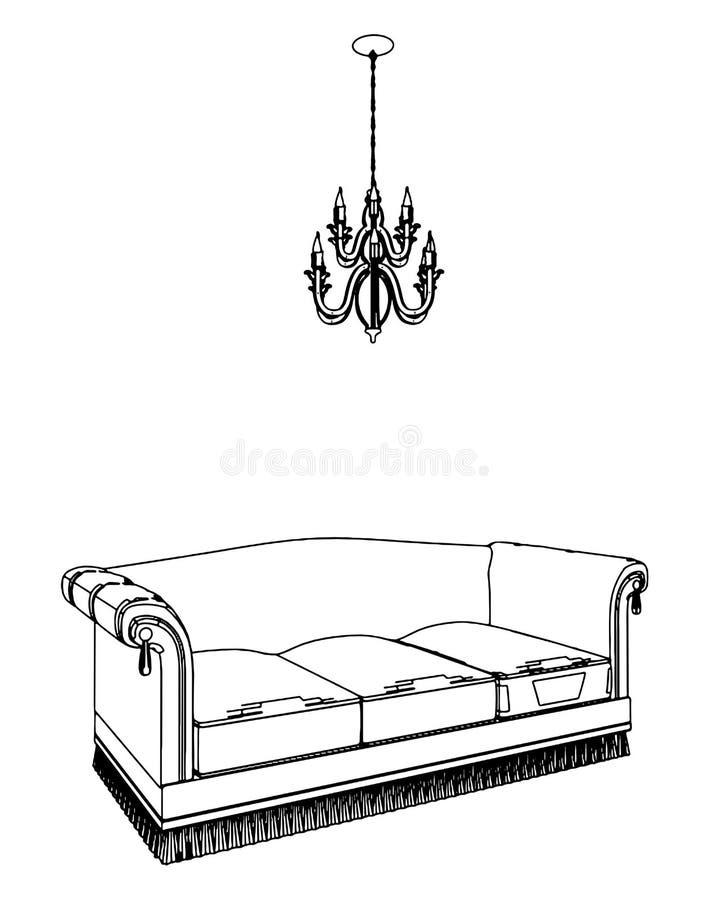 Sofa-und Leuchter-Vektor 03 lizenzfreie abbildung