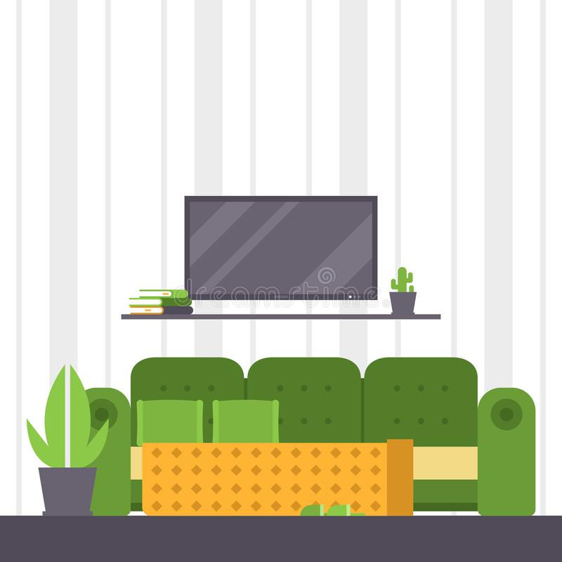 Sofa vector furniture couch seat furnished interior design of living-room at apartment home illustration furnishing vector illustration