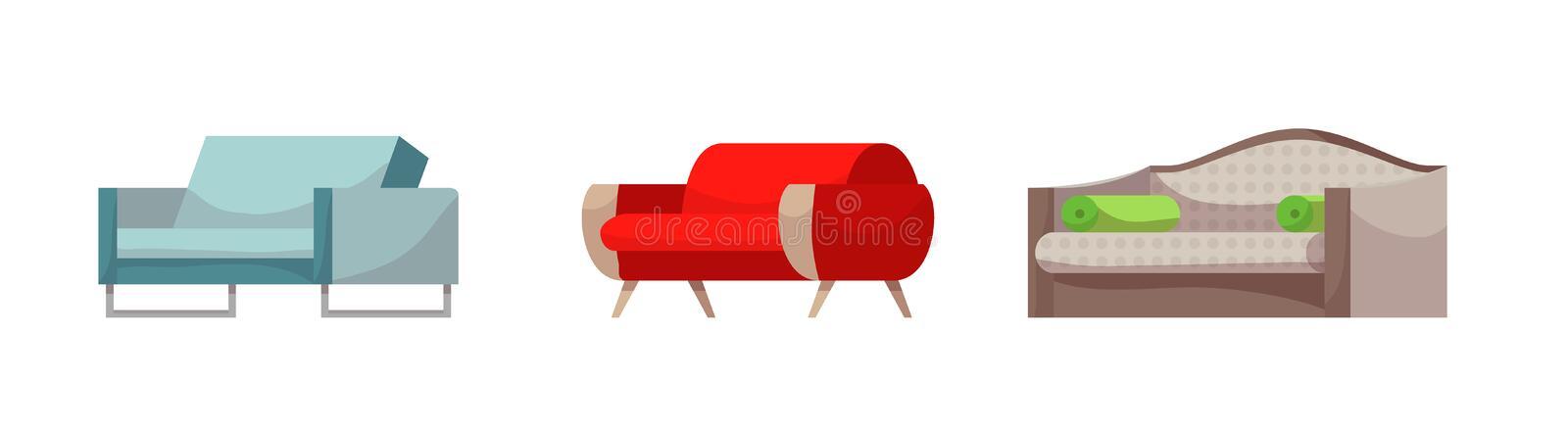 Sofa vector modern furniture couch seat furnished interior design of living-room at apartment home illustration vector illustration
