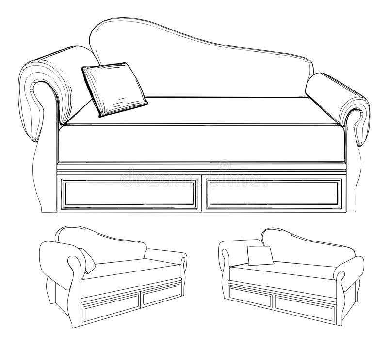 Sofa-Vektor 14 stock abbildung