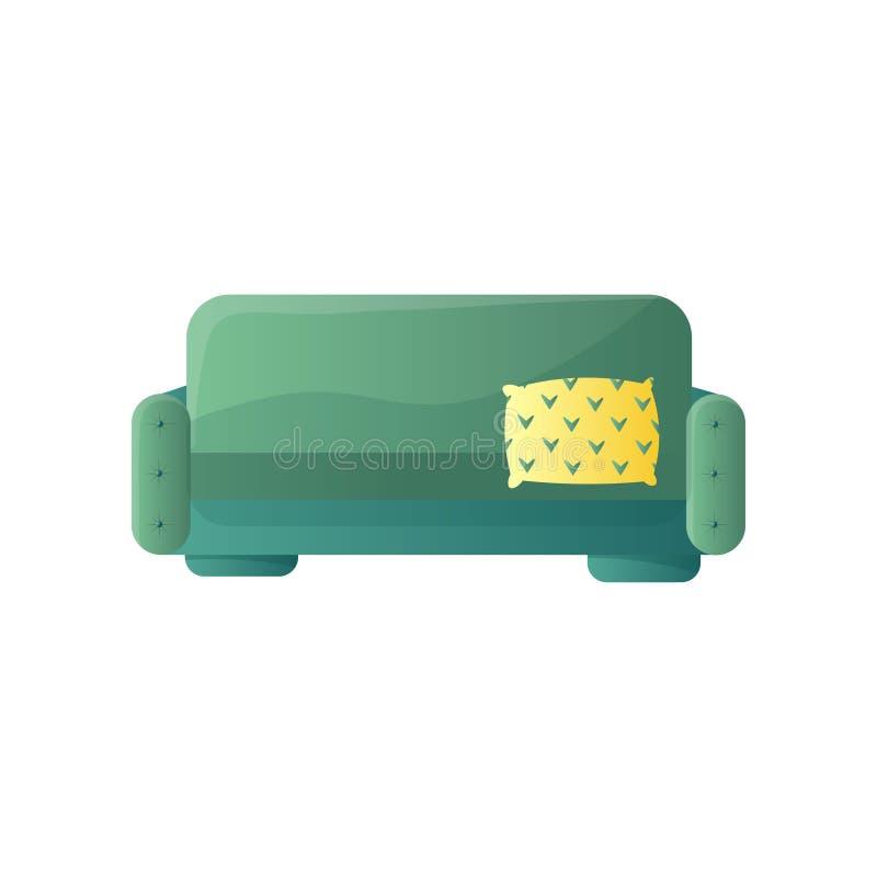 Sofa vert avec le coussin jaune d'isolement sur le fond blanc photos libres de droits