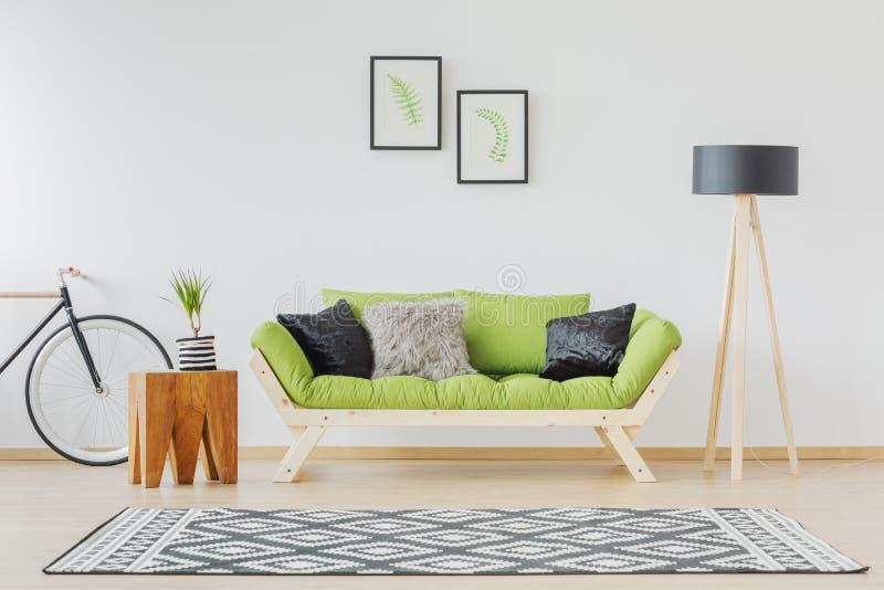 Sofa vert et accent noir photographie stock libre de droits