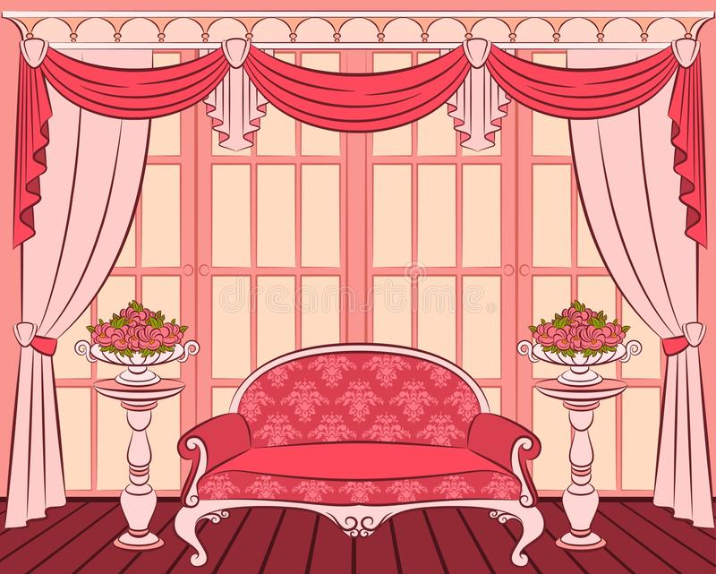 Sofa in vintage interior royalty free illustration