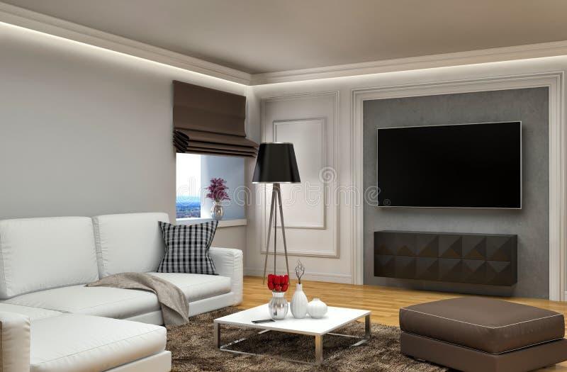 sofa wewnętrznego white ilustracja 3 d royalty ilustracja