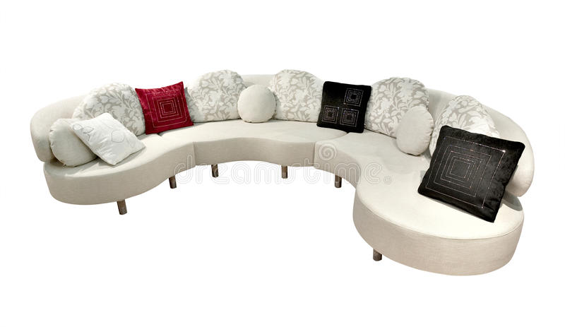 Sofa on white. Comfy Sofa, with clipping path on white stock photos
