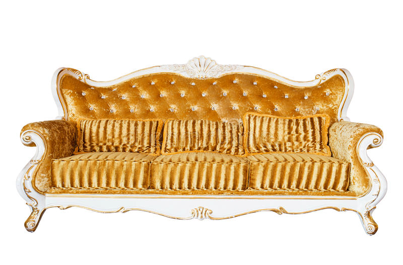 Sofa On White Background d'annata di lusso fotografia stock libera da diritti